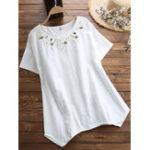 Оригинал Женские повседневные футболки с короткими рукавами и вышивкой
