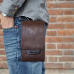 Оригинал Men Retro Business PU Phone Bag Mini Outdoor Casual Bag
