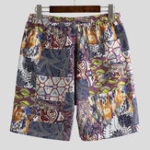 Оригинал Mens Holiday Colorful Printing Loose Fit Beach Summer Shorts