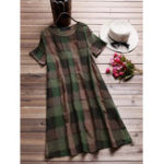 Оригинал Women Short Sleeve O-neck Plaid Retro Shirt Dress