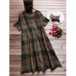 Оригинал Women Short Sleeve O-neck Plaid Retro Shirt Dress