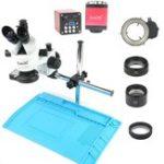 Оригинал Промышленность 3.5X-90X Тринокулярный стереомикроскоп с симуль-фокусом VGA HDMI Видео камера 720P 13MP Для телефона PCB Пайка Repair Lab