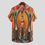 Оригинал Мужскиелетниестендовыеворотникисэтническим принтом повседневные рубашки Henley