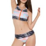 Оригинал Zipper Front Low Waist Print  Sports Swimwear