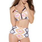 Оригинал High Waist Zipper Front Print Swimwear