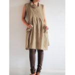Оригинал Women Solid Cowl Neck Sleeveless Cotton Casual Mini Dress