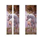 Оригинал 77 * 200см ПВХ 3D дверной стикер стены Единорог в лесу DIY Домашние украшения