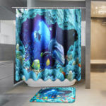 Оригинал 180×180смBlueDolphinDeepSeaВодонепроницаемы Ванная комната Занавеска для душа с 12 крючками