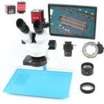 Оригинал Тринокулярный стереомикроскоп Simul Focal 3.5X 7X 90X + 13MP 720P HDMI VGA Видео камера LCD Дисплей Для ремонта Ремонт телефона Пайка