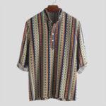 Оригинал Men Ethnic Pattern Printed Half Sleeve Henley Shirts