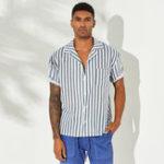 Оригинал Рубашки с короткими рукавами и вертикальными полосками для мужчин Revere