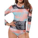 Оригинал One-Piece Print Zipper Long-Sleeved Swimwear