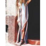 Оригинал Женская безрукавка с цветочным принтом High Split Maxi Платье