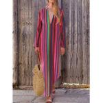 Оригинал Женский Повседневный Свободный V-образный вырез в полоску с длинным рукавом Maxi Платье