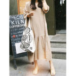 Оригинал Half Sleeve Soild Pleated Maxi Dress