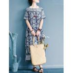 Оригинал Женщины с коротким рукавом O-образным вырезом Loose Винтаж Maxi Платье