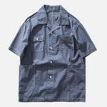 Оригинал Мужскиемультикарманысплошногоцветаскороткими рукавами Revere Shirts