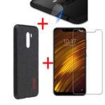 Оригинал BakeeyFabricSpliceSoftЗащитныйчехол Edge + Закаленное стекло + Защитная пленка для объектива Xiaomi PocophoneF1-Black