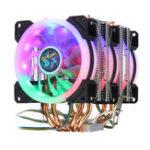 Оригинал 4Pin Three Fans 4-Heatpipes Colorful Подсветка радиатора процессора Вентилятор Кулер Радиатор Для Intel AMD