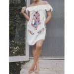 Оригинал Богемный Женское Мини-повседневный цветочный принт с открытыми плечами Платье