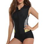 Оригинал One-Piece Printing Zipper Front Surf Swimwear
