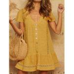 Оригинал Женская Pure Color Button Down V-образным вырезом с коротким рукавом Мини Платье