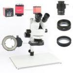 Оригинал Телефон PCB Пайка Repair Lab Industrial 7X 45X 90X Симно-фокусный тринокулярный стереомикроскоп VGA HDMI Видео камера 720P 13MP