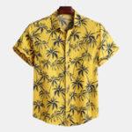 Оригинал Mens Palm Tree Цветочные Печатные Летние каникулы Гавайские Рубашка