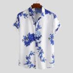 Оригинал Мужские фарфоровые рубашки с короткими рукавами и цветочным принтом