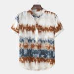 Оригинал Мужская летняя стойка с воротником Летние повседневные рубашки Henley