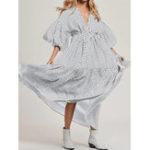 Оригинал Женская горошек в горошек V Шея Maxi Рубашка Swing Платье