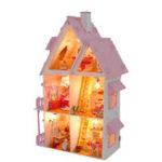 Оригинал DIY Деревянный Кукольный Дом Doll House Светодиодный Миниатюрный Кукольный Домик C Мебель Кукольный Дом Аксессуары