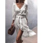 Оригинал Женская сплошная цветная пуговица с V-образным вырезом с рукавами 3/4 Повседневная Платье