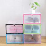 Оригинал Складные прозрачные пластиковые ящики для обуви Органайзер Stackable Tidy Дисплей Коробка для корзин