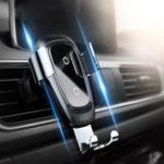 Оригинал BaseusMetalGlassQiБеспроводноезарядное устройство Быстрая зарядка Air Vent Авто Держатель телефона для 4.0 дюймов – 6.5 дюймов Смартфон iPhone XS Макс Sa