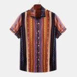 Оригинал Комфортные гавайские рубашки с цветным принтом в этническую полоску