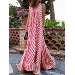 Оригинал Женские ремни без рукавов с V-образным вырезом в полоску A Line Long Maxi Платье