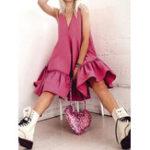 Оригинал Women Sleeveless V-neck Solid Color Casual Mini Dress
