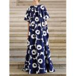 Оригинал Элегантный Женское цветочный принт с коротким рукавом макси Платье