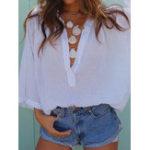 Оригинал Сплошной цвет V Шея Свободные повседневные Пляжный Женское Блузка