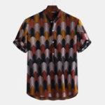 Оригинал Мужская Colorful летняя футболка Henley Shirt с принтом