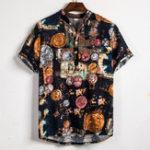 Оригинал Мужская мода с цветочным принтом Половина Кнопки повседневные рубашки