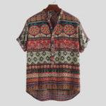 Оригинал Mens Ethnic Colorful Печатные повседневные рубашки Henley