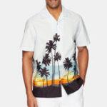 Оригинал Men Tropical Растение Рубашки с коротким рукавом с гавайским принтом Revere
