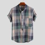 Оригинал Мужские рубашки Генри Colorful с коротким рукавом в шотландскую клетку