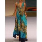 Оригинал Безрукавный павлин с принтом Bohemia Пляжный Long Maxi Платье
