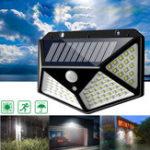 Оригинал  100 LED Солнечная Работает на PIR Motion Датчик Настенный светильник На открытом воздухе Сад Лампа 3 режима