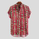 Оригинал Mens Summer Casual Loose Printing Henley Shirts