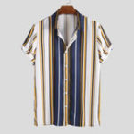 Оригинал Mens Fashion Colorful Stripe Casual Summer Shirts