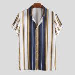 Оригинал Mens Fashion Colorful Stripe Casual Summer Shirts
